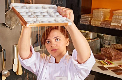 Image of lady making chocolate at the York Chocolate Story